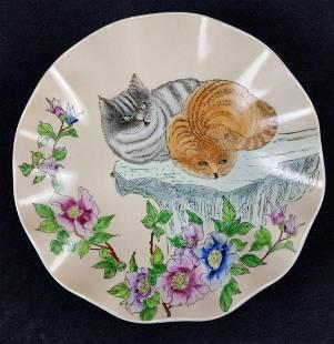 Hand Painted Chinese Cat Art Bowl