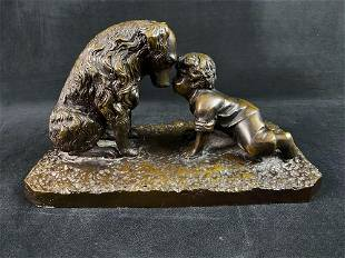 Large Antique Pot Metal Sculpture of a Boy & Dog by H.