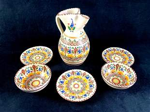 Set of Puente Pottery Bowls, Pitcher, and Plates