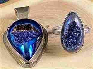 Vintage Designer Michael Sterling Silver Blue Aura