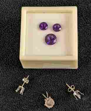 Lab Made African Amethyst Earring And Pendant Kit