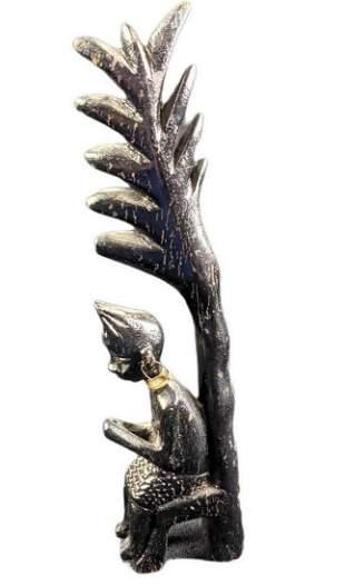 Vintage Hand Carved Wooden African Queen Figurine