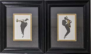 Framed Jazz Musicians By Michel Canetti