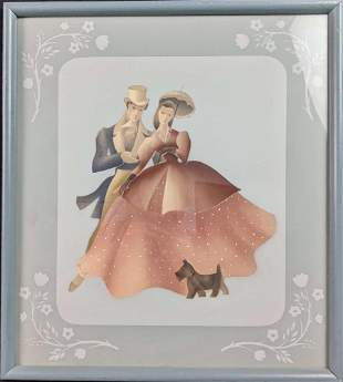 Vintage Victorian Young Couple With Dog Print By The