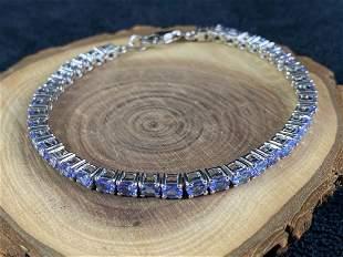 Estate Sterling 925 4.8 CTW Tanzanite Tennis Bracelet