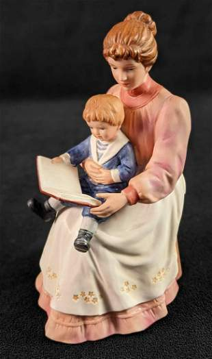 HOMCO Bisque Porcelain Storytime Figurine Mother With