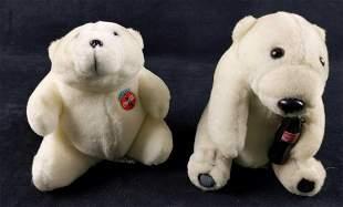 Two Coca Cola Polar Bear Plush Animals