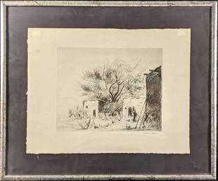Original Art Etching by Edward Moran Framed Signed
