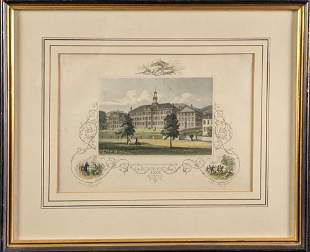 Framed Dartmouth College Colored Steel Engraving Print