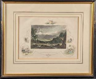 Framed White Mountains New Hampshire Colored Steel