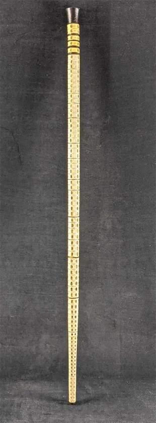 Vintage Shark Vertebrae Walking Stick Ebony Handle