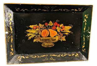 Vintage Hand Painted Tin Serving Tray Fruit Bowl