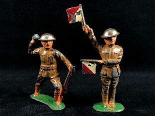 """Antique Cast Iron Hand Painted WWII 2"""" Soldiers Signal"""