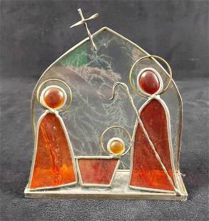 Vintage Stained Glass 3D Nativity Set