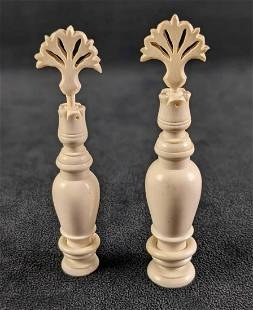Two Small Hand Carved Bone Perfume Bottles