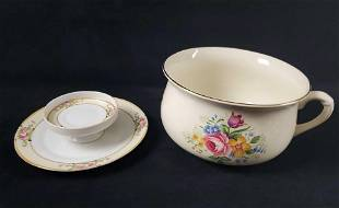 Vintage Porcelain Tray And Chamber Pot Lot Of Two