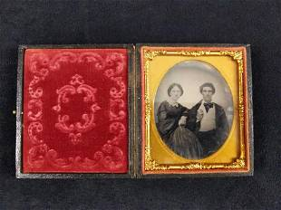 Antique Leather Case With Ambrotype Of Man Woman
