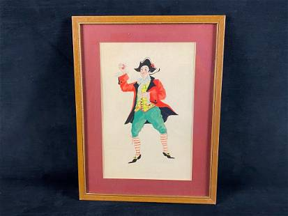 Vintage Framed & Signed Italian Meneghino Commedia Del