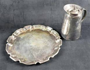Set of Silver Plate Pitcher and Tray