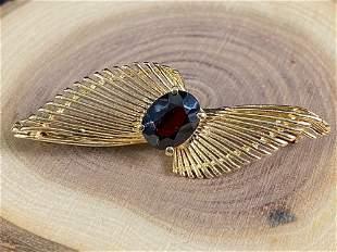 Vintage 14K Gold Garnet Brooch / Pin