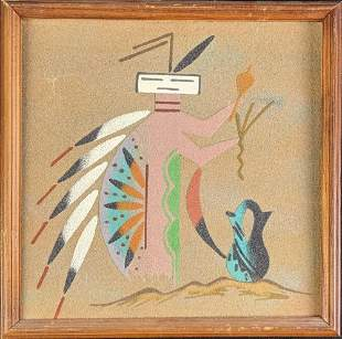 Framed Native American Navajo Sand Painting
