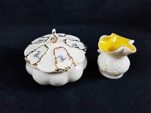 Vintage Porcelain Sugar Bowl With Top And Creamer