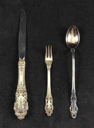 Lot of 3 Gorham Crown Baroque Sterling Silverware