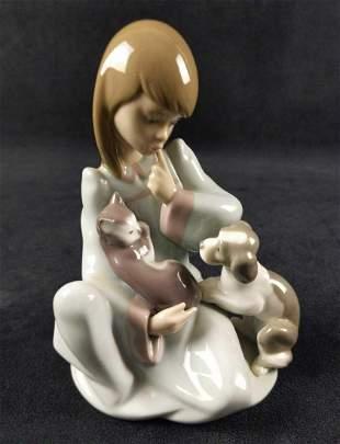 Retired Porcelain Lladro Cat Nap Girl Puppy Kitten