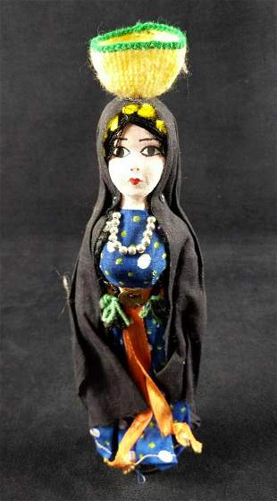 Vintage Hand Made Souvenir Doll With Basket On Head