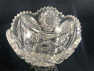 Vintage Flowers & Stars Crystal Candy Dish / Bowl