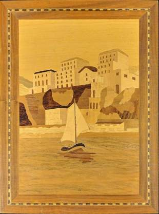 Inlaid Wood Picture Marquetry Inlay Boat Art T9