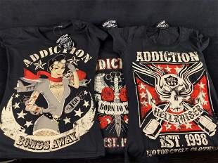 3 Genuine Addiction Brand Ladies Med Biker Shirts A