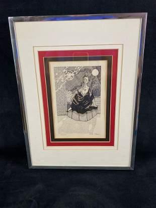 """Vintage Original Signed Pen & Ink """" Pseudofem"""" Art"""