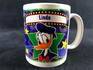 Vintage Donald Duck Film Stars LINDA Coffee Mug Ceramic