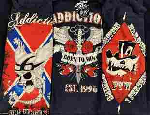 3 Genuine Addiction Brand Ladies Med Biker Shirts F