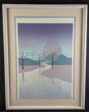 Large Framed Nature Art Lithograph
