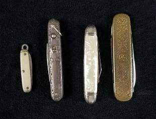 Rare 4 Piece Lot of Early 1900s Vintage Pocketknives