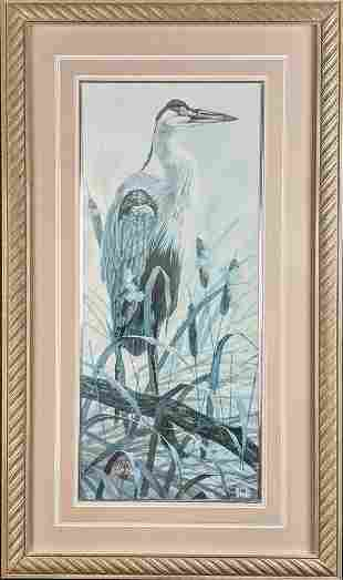 Framed Limited Edition Graceful Heron Robert Binks