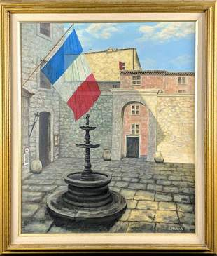 Original Oil Painting E Harris French Courtyard