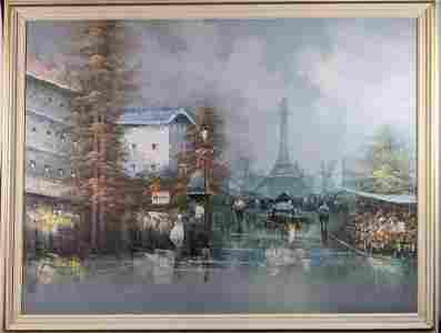 Large Framed Original Oil On Canvas Paris Eiffel Tower