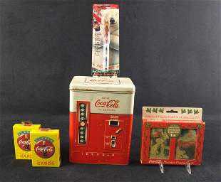 Coca Cola Tin With Playing Cards And Ball Pen
