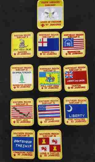 12 1993 Boy Scout Jamboree Region Subcamp Badges