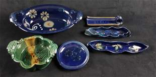 Lot of 6 Blue Floral Stoneware Items