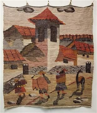 Vintage Folk Art Wool Wall Tapestry B