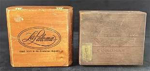 Two Vintage Wooden Cigar Boxes Brooks La Paloma