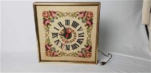 Floral Needlepoint Clock Framed