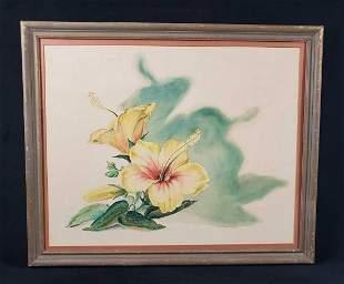 Original Vintage Watercolor of Yellow Hibiscus