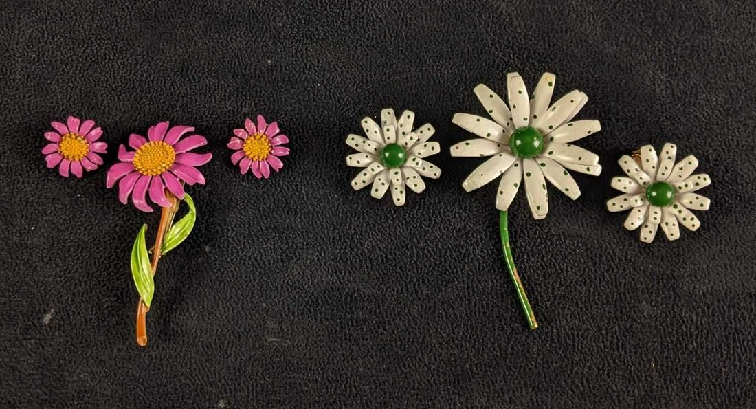 Enamel Flower Pins with Matching Clip On Earrings