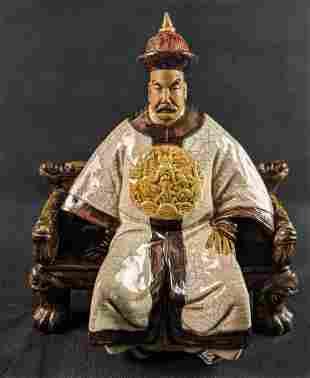 Vintage Ceramic Figurine Elder Emperor Or Royal Court