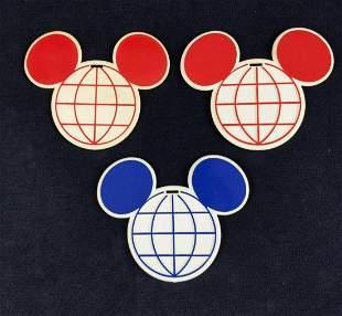 Three Vintage Walt Disney World Luggage Golf Tags